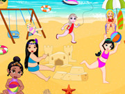 Baby Princesses Play In Beach
